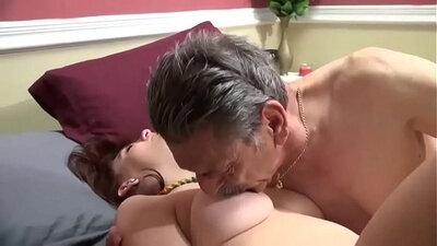 Busty redhead bull fucks grandpa