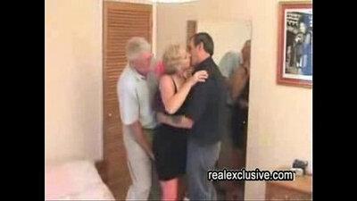 Mature swingers bent over in sports fighting and masturbate