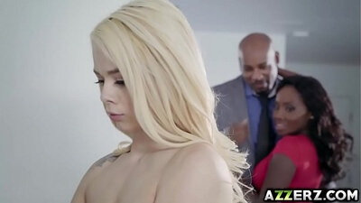 Blond haired petite hooker has interracial threesome with studs