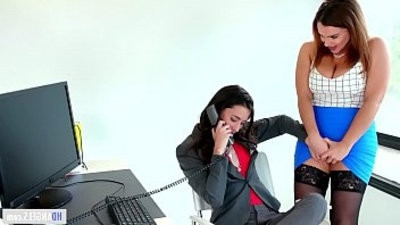Caught on having sex in the office! Georgia Jones, Anastasia Knight and Natasha Nice